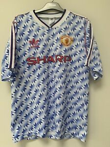 Manchester United Football Shirt Away 1992 Snowflake Adults 38-40 Excellent Con