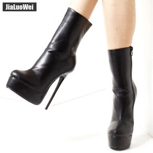 16CM-High-Heel-Shoes-Womens-Boots-Zipper-Ankle-Boots-Leather-Nightclub-Stilettos