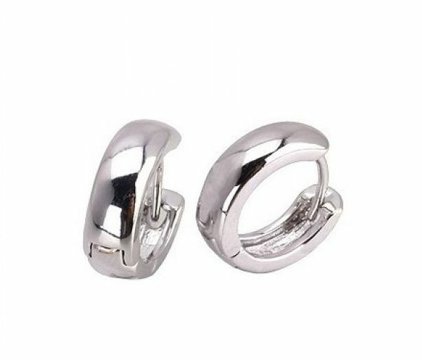 Rounded 18K White Gold GP Huggie 15mm Hoop Earrings E70