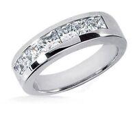 2 carat, 7 Princess cut Diamond 14k White Gold Band Mens Wedding Ring G VS