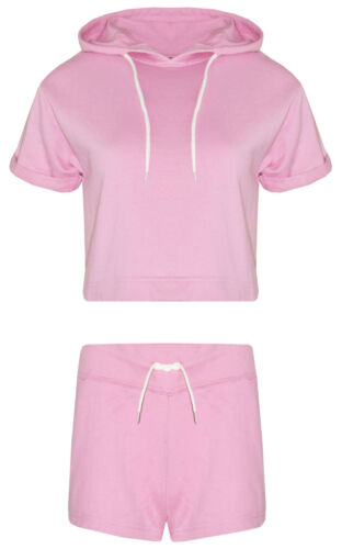 Womens Crop Hooded Short Sleeved Top /& Shorts Sweat Shirt Ladies Short Tracksuit