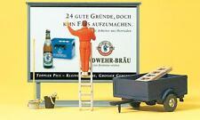 Preiser 10526 Plakatkleber auf Leiter, Plakattafel, Anhänger, H0 1:87