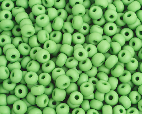 25 Grams Czech Preciosa 6//0 Seed Bead-Matte Opaque Light Green-Size 6 PS01001