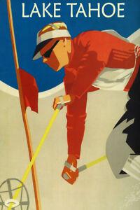 Lake Tahoe Canoe Sport California Sierra Nevada USA Vintage Poster Repo FREE S//H