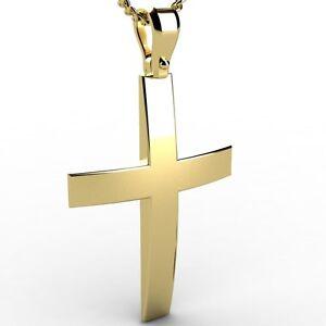 Greek-Christening-Yellow-Gold-14K-carat-Men-039-s-Solid-Cross-Pendant-Free-Engraving