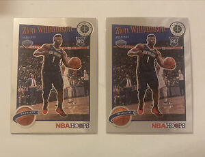 2019-20-Zion-Williamson-Rookie-RC-NBA-Hoops-Premium-Stock-2-Card-Tribute-Lot