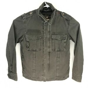 American Eagle Womens Olive Green Field Military Snap Jacket Size Large