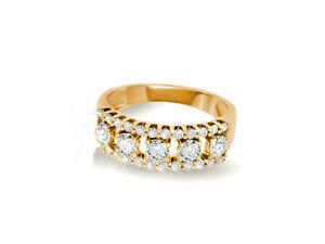 Damen-Brillant-Ring-Diamanten-1-Karat-18K-Gelbgold-Neu-Zertifikat-Box