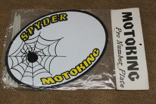 NOS OLD MID SCHOOL BMX MOTOKING SPIDER YELLOW RACE NUMBER PLATE