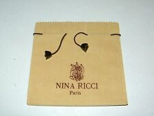 "Vintage Authentic Nina Ricci Paris Jewelry Dust Bag-Pouch Tan Suede Cloth 5""x 5"""