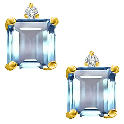 6x6MM 14K W OR Y PLATED GOLD SILVER PRINCESS AQUAMARINE STUD EARRINGS 2.49CT