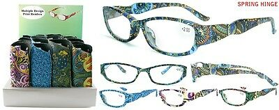 New Multiple Print Design Ladies Plastic Reading Glasses with Pouch + FREE GIFT