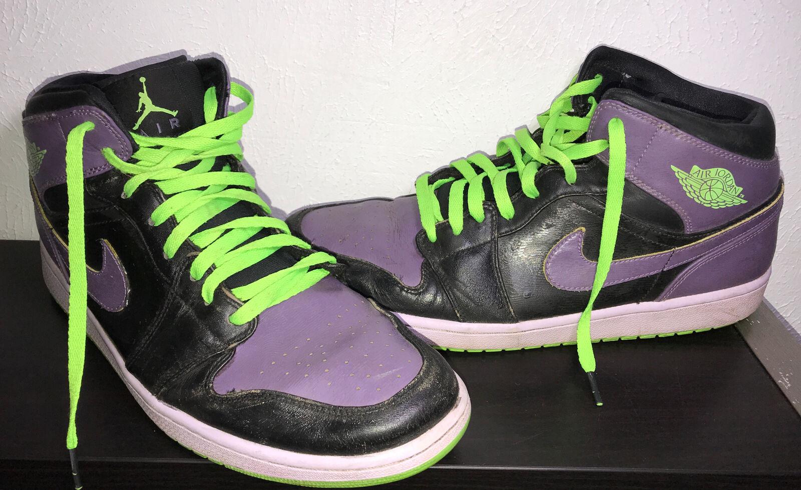 Men's Nike Air Jordan 1 Retro Mid Joker Black Purple Green Size 13 136065-021