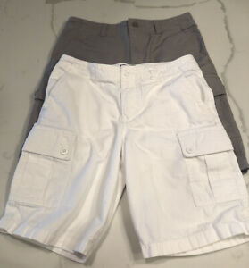 Ralph-Lauren-POLO-2-Pairs-Youth-Boys-Cargo-Shorts-White-And-Grey-Size-12-Lot
