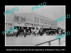 OLD-LARGE-HISTORIC-PHOTO-OF-STAMFORD-TEXAS-THE-TOWN-FIRE-BRIGADE-PARADE-c1907-2