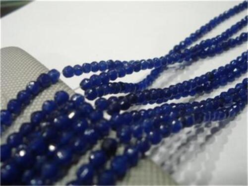 """4 mm Faceted Blue Sapphire Gemstone Loose Beads 15/"""" # AY063"""