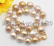 Z8358 Rare 16mm Peacock-Lavender Almost Round Edison KASHI PEARL Necklace 18inch