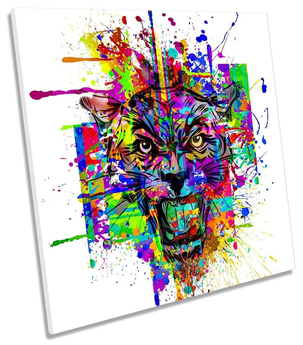 Wild Tiger Face Bild CANVAS Wand Kunst Square Drucken Multi-Colourot