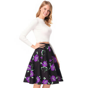 on sale 73b4f 7d72c Dettagli su gonna lunga palloncino morbida elegante nero viola fiori  vintage evento G159