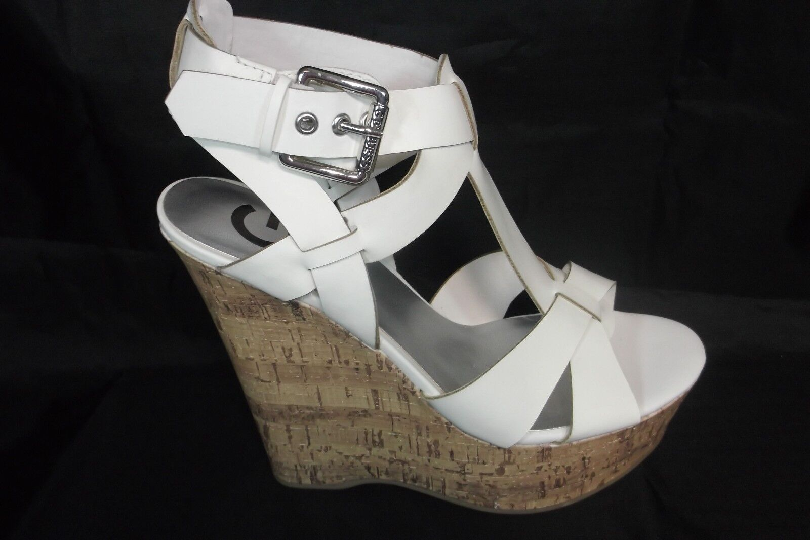 GUESS G BY GUESS GG ENTRY WHITE WEDGE STRAPPY SANDALS 9M NEW NEW IN BOX