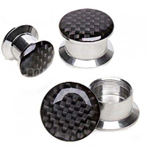 PAIR-Carbon Check Black Steel Stash Screw On Ear Plugs 03mm//8 Gauge Body Jewelry