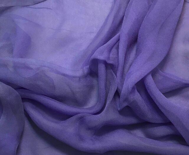 3mm Silk GAUZE CHIFFON Fabric Hand Dyed IRIS PURPLE 1/2 Yard remnant