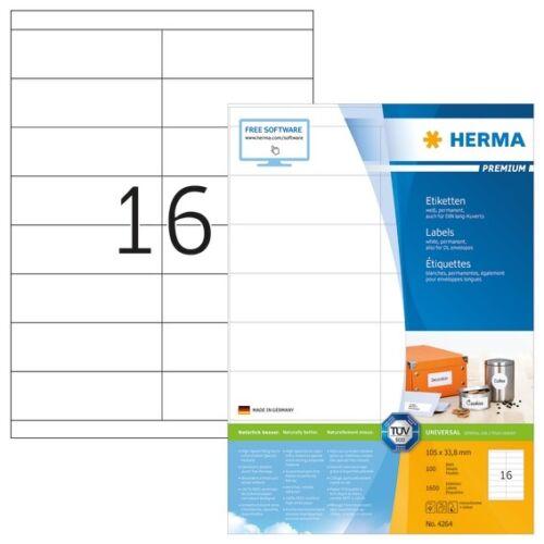 HERMA 4264 Etiketten Premium A4 105x33,8 mm weiß Papier matt 1600 St.