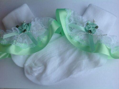 Mint Green Rosas bebé//niñas Volantes Calcetines Varios Tamaños