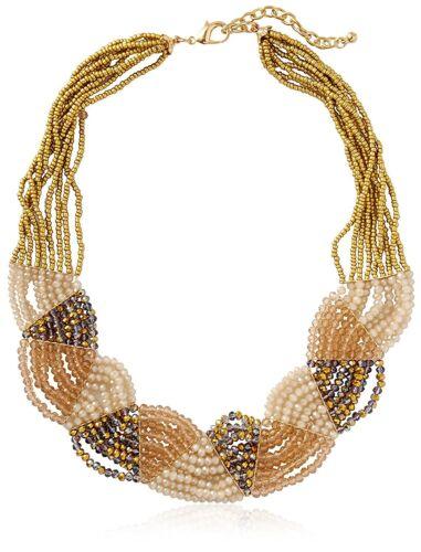 Leslie Danzis Gold Plated Multi Strand Iridescent Beaded Collar Bib Necklace NWT