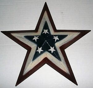 Details About Americana Painted Wood Star Wall Decor 12 X