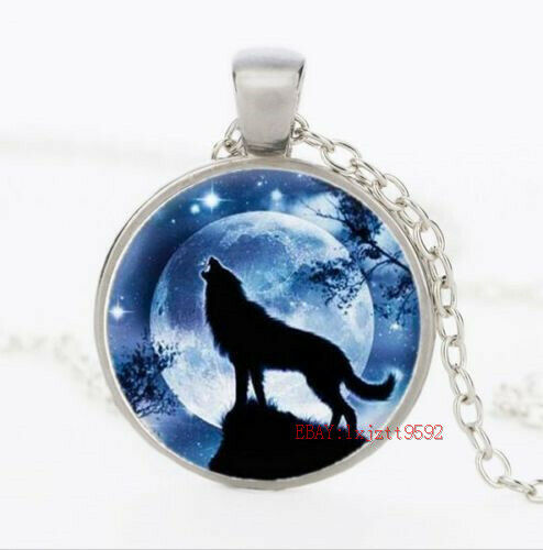 wolf Glass Cabochon Tibet silver chain pendant necklace magnify charm necklace