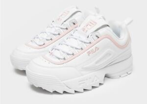 Details about Fila Disruptor ii UK 5.5 UNISEX WHITE AND PINK SPORTY TRAINERS with Box