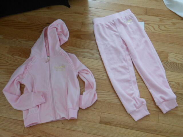 6f9b3b52a4 Juicy Couture Girls Velour Set Jacket Pants Pink Tracksuit Sweatsuit Size 5