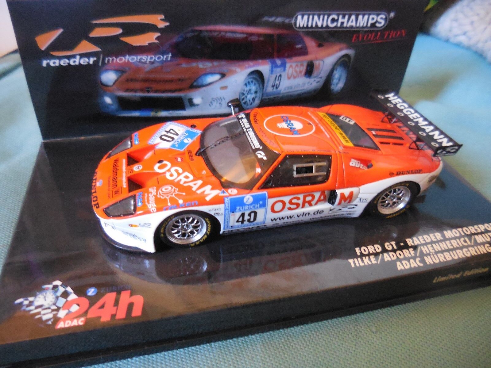 1 43 FORD GT  40 RAEDER 24H NURBURGRING 2009 MINICHAMPS