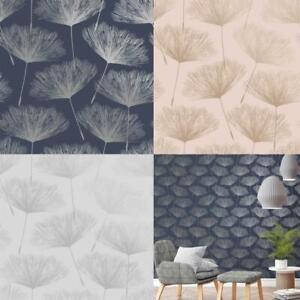 Holden-Decor-Grey-Glistening-Metallic-Fleur-Dandelion-Flower-Wallpaper-10m