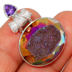 Titanium Aura Druzy & Amethyst 925 Sterling Silver Pendant Jewelry BP9162 XGB