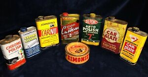 8-Antique-Vintage-Auto-Polish-And-Wax-Tins-1940-s-1960-s