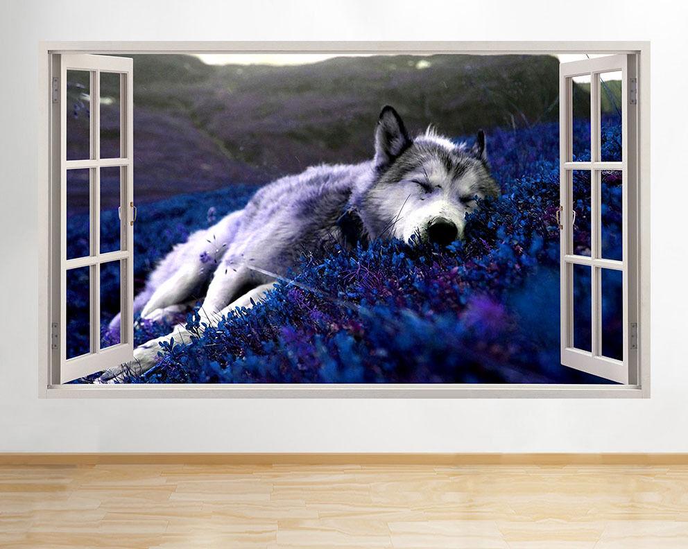 C274 Lupo sonno Relax natura vivente della fine adesivo da parete camera bambini
