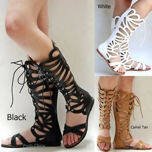 4f1a13d7e709 Details about New Women FKat7 Black Tan Beige Butterfly Lace Gladiator Knee  High Tall Sandals