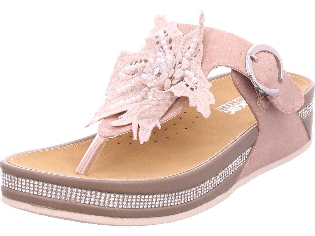 Rieker señora sandalias sandalia es zapatillas de casa rojo