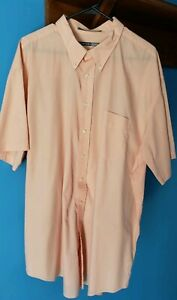 Comfort-Zone-Men-039-s-Size-19-Big-short-sleeve-dress-shirt-Peach-color