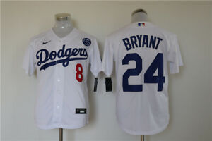 Details about Men's Los Angeles Dodgers #24 Kobe Bryant White KB Patch MLB Cool Base Jersey