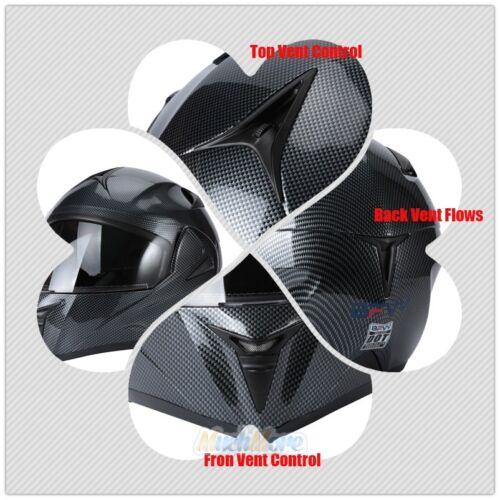 DOT Flip Up Modular Full Face Motorcycle Helmet Dual Visor Motocross+Headset NEW