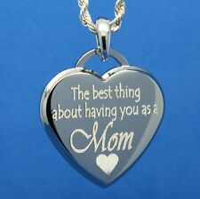 BEST THING ABOUT MOM CUSTOM ENGRAVED PENDANT NECKLACE - GREAT GIFT FOR MOM