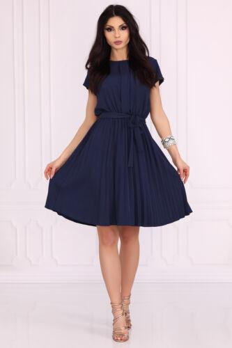MERRIBEL Medesia Luxury Super Soft Decorative Short Sleeved Pleated Dress