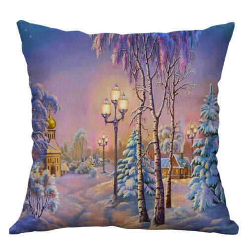 "Snow-covered Decor Pillowcase landscape Cushion 18/"" Home Linen Cotton Cover"