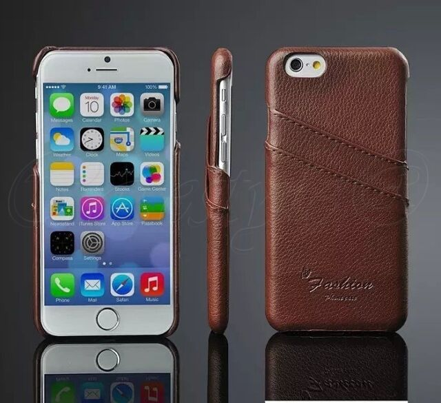 iPhone 6 6S+Plus SE 5S 5 5C Genuine Leather Hard Back Protective Case Card Cover