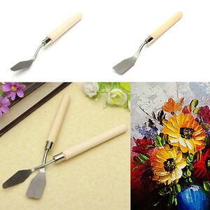 2x-Wood-Handle-Metal-Palette-Knife-Spatula-Oil-Texture-Painting-Art-Craft-TooYT