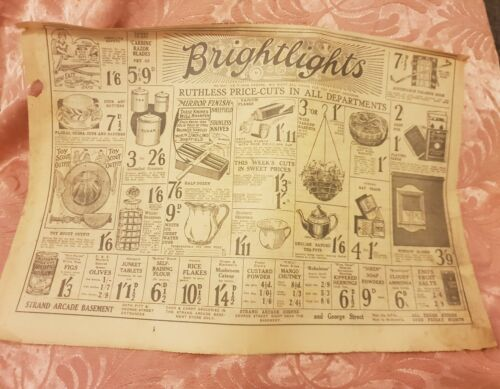 Brightlights, Strand Arcade, Sydney 1928 Advertisement