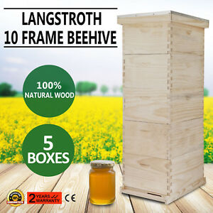5 Brood Box10-Frame Beehive Frames /Bee Hive Frame for Beekeeping w/ Metal Roof